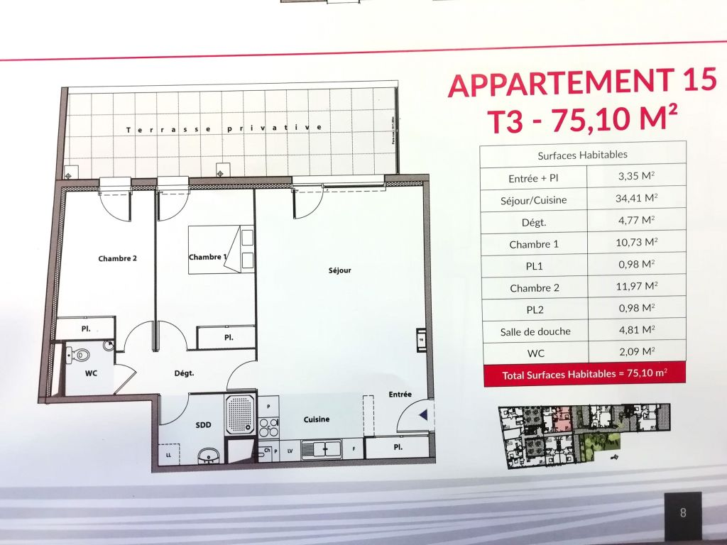 Appartement neuf T3 3/3